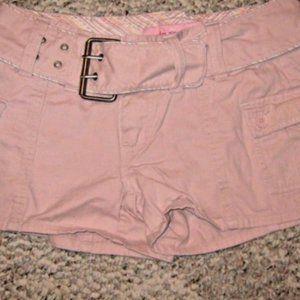 PLUGG Light Pink Cargo Belt Jean Short Shorts 3 28